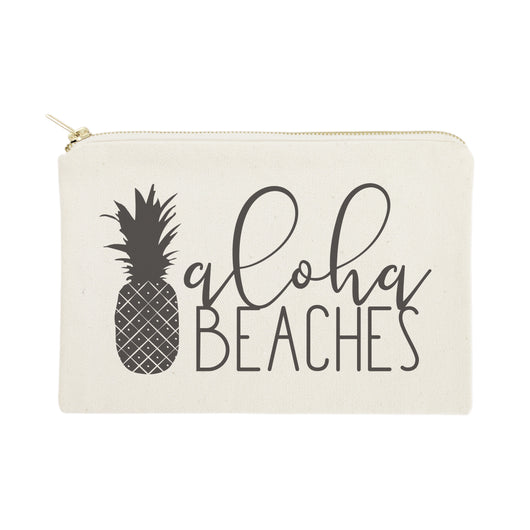 Aloha Beaches Cotton Canvas Cosmetic Bag - The Cotton and Canvas Co.