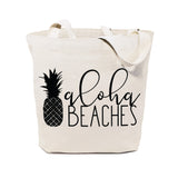 Aloha Beaches Cotton Canvas Tote Bag - The Cotton and Canvas Co.