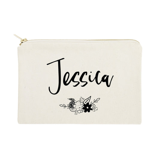aa33ef090804 Personalized Name Black and White Floral Cosmetic Bag and Travel ...