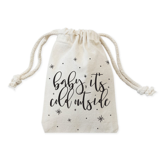 Baby Its Cold Outside Cotton Canvas Christmas Holiday Favor Bags, 6-Pack - The Cotton and Canvas Co.