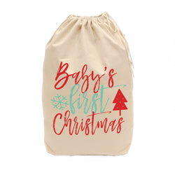 Baby's First Christmas Cotton Canvas Santa Sack - The Cotton and Canvas Co.