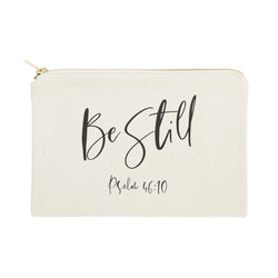 Be Still, Psalm 46:10 Cotton Canvas Cosmetic Bag - The Cotton and Canvas Co.