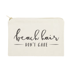 Beach Hair Don't Care Cotton Canvas Cosmetic Bag - The Cotton and Canvas Co.