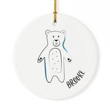 Personalized Name Bear Christmas Ornament