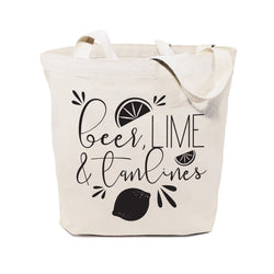 Beer, Lime and Tan Lines Cotton Canvas Tote Bag - The Cotton and Canvas Co.