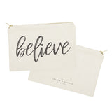 Believe Cotton Canvas Cosmetic Bag - The Cotton and Canvas Co.
