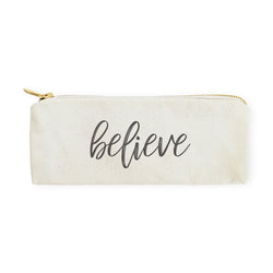 Believe Cotton Canvas Pencil Case and Travel Pouch - The Cotton and Canvas Co.