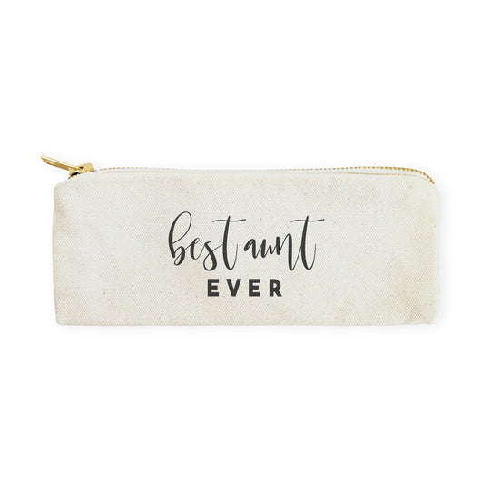 Best Aunt Ever Cotton Canvas Pencil Case and Travel Pouch - The Cotton and Canvas Co.