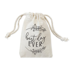 Best Day Ever Cotton Canvas Wedding Favor Bags, 6-Pack - The Cotton and Canvas Co.