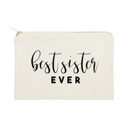 Best Sister Ever Cotton Canvas Cosmetic Bag - The Cotton and Canvas Co.