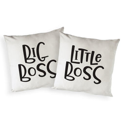 Big Boss and Little Boss Cotton Canvas Pillow Covers, 2-Pack - The Cotton and Canvas Co.