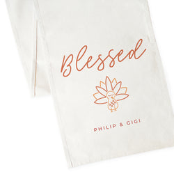 Personalized Couple Names Blessed Canvas Table Runner - The Cotton and Canvas Co.