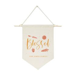 Personalized Family Last Name Blessed Hanging Wall Banner