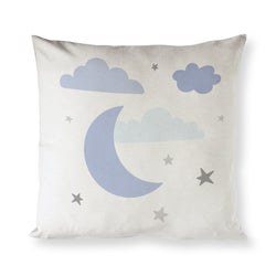 Blue Clouds and Moon  Cotton Canvas Baby Pillow Cover - The Cotton and Canvas Co.