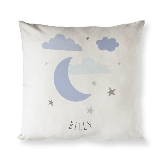 Personalized Blue Clouds and Moon Baby Pillow Cover - The Cotton and Canvas Co.