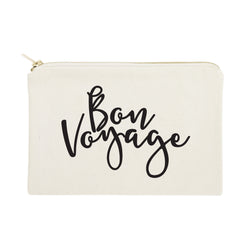 Bon Voyage Travel Cotton Canvas Cosmetic Bag - The Cotton and Canvas Co.