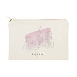 Boston Cityscape Cotton Canvas Cosmetic Bag - The Cotton and Canvas Co.