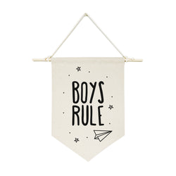 Boys Rule Hanging Wall Banner - The Cotton and Canvas Co.
