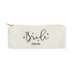 Bride Personalized Cotton Canvas Pencil Case and Travel Pouch - The Cotton and Canvas Co.