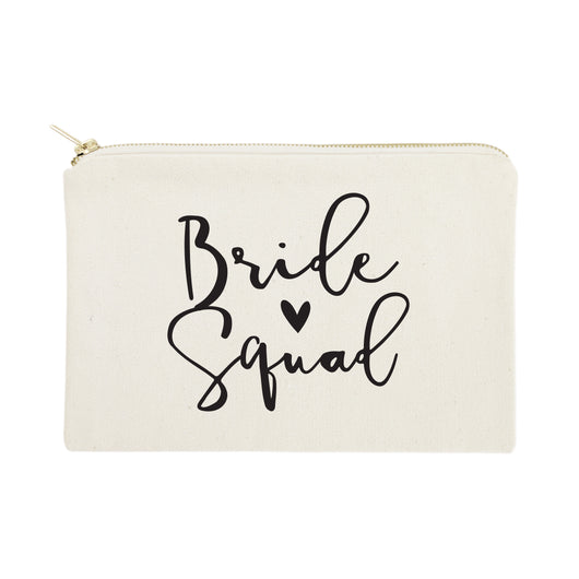 Bride Squad Cotton Canvas Cosmetic Bag - The Cotton and Canvas Co.