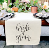 Bride & Groom Cotton Canvas Table Runner - The Cotton and Canvas Co.