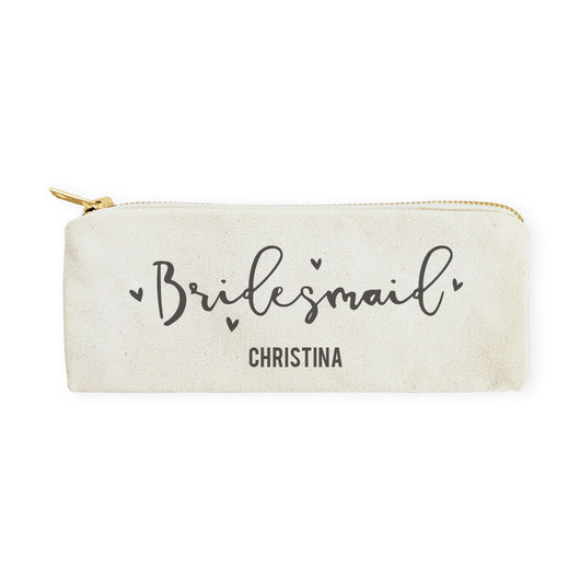 Bridesmaid Personalized Cotton Canvas Pencil Case and Travel Pouch - The Cotton and Canvas Co.