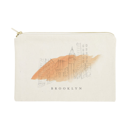 Brooklyn Cityscape Cotton Canvas Cosmetic Bag - The Cotton and Canvas Co.