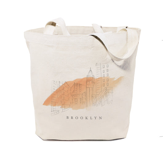 Brooklyn Cityscape Cotton Canvas Tote Bag - The Cotton and Canvas Co.