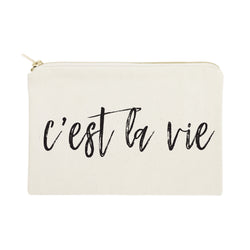 C'est La Vie Cotton Canvas Cosmetic Bag - The Cotton and Canvas Co.