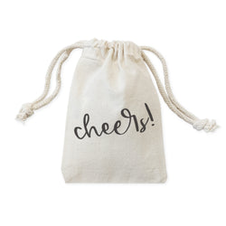 Cheers! Cotton Canvas Holiday Favor Bags, 6-Pack - The Cotton and Canvas Co.