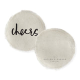 Cheers Cotton Canvas Drink Coasters, Set of 4 - The Cotton and Canvas Co.