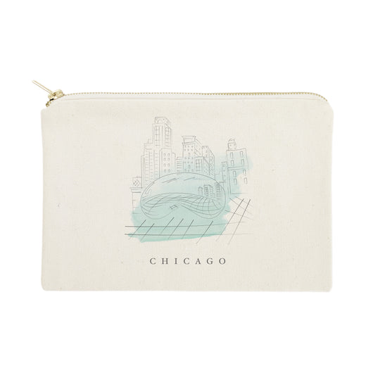 Chicago Cityscape Cotton Canvas Cosmetic Bag - The Cotton and Canvas Co.