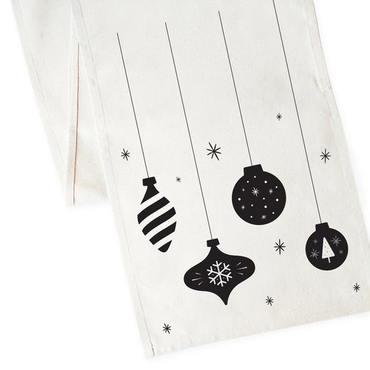 Christmas Ornaments Cotton Canvas Table Runner - The Cotton and Canvas Co.