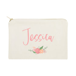 Personalized Name Colored Floral Cosmetic Bag and Travel Make Up Pouch - The Cotton and Canvas Co.
