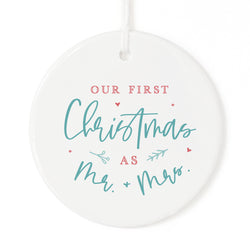 Modern Our First Christmas as Mr. and Mrs. Christmas Ornament - The Cotton and Canvas Co.