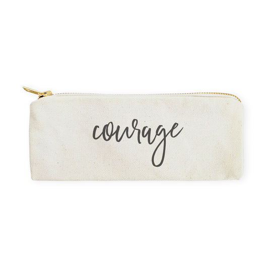 Courage Cotton Canvas Pencil Case and Travel Pouch - The Cotton and Canvas Co.