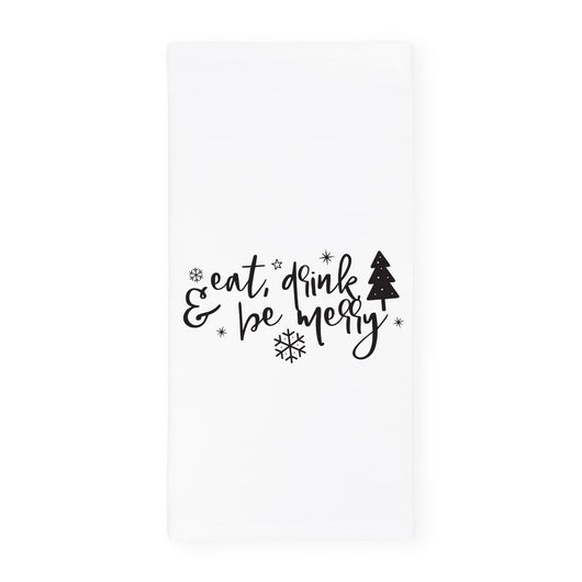 Eat, Drink and Be Merry Christmas Kitchen Tea Towel and Dish Cloth - The Cotton and Canvas Co.