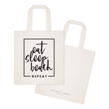 Eat, Sleep, Beach, Repeat Cotton Canvas Tote Bag - The Cotton and Canvas Co.