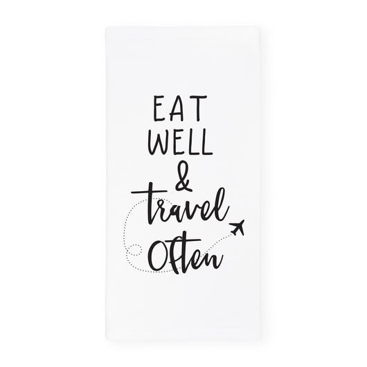 Eat Well Travel Often Kitchen Tea Towel - The Cotton and Canvas Co.