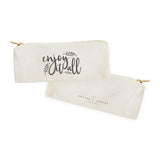 Enjoy It All Cotton Canvas Pencil Case and Travel Pouch - The Cotton and Canvas Co.