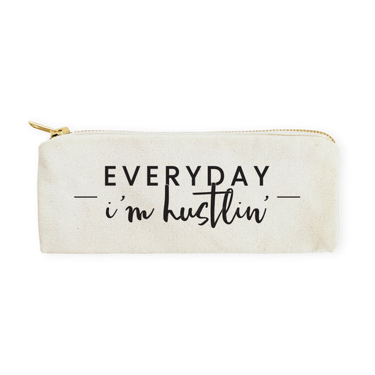 Everyday I'm Hustlin' Cotton Canvas Pencil Case and Travel Pouch - The Cotton and Canvas Co.