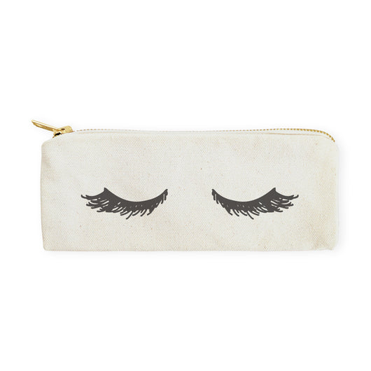 Closed Eyelashes Cotton Canvas Pencil Case and Travel Pouch - The Cotton and Canvas Co.