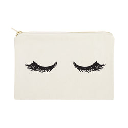 Closed Eyelashes Cotton Canvas Cosmetic Bag - The Cotton and Canvas Co.