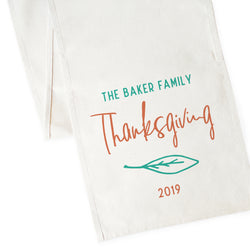 Personalized Family Last Name Thanksgiving and Year Canvas Table Runner - The Cotton and Canvas Co.