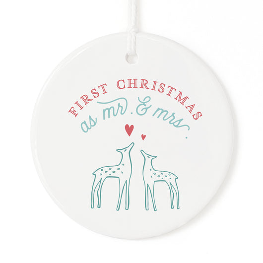 First Christmas as Mr. and Mrs. with Deer Christmas Ornament - The Cotton and Canvas Co.