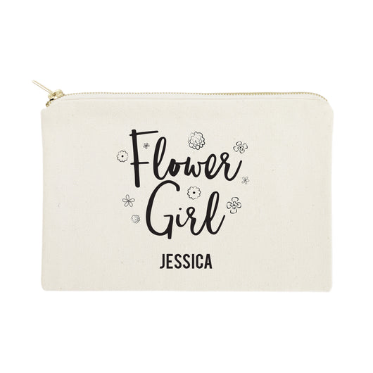 Personalized Flower Girl Cotton Canvas Cosmetic Bag - The Cotton and Canvas Co.