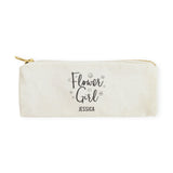 Flower Girl Personalized Cotton Canvas Pencil Case and Travel Pouch - The Cotton and Canvas Co.