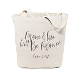 Forgive and You Will Be Forgiven, Luke 6:37 Cotton Canvas Tote Bag - The Cotton and Canvas Co.