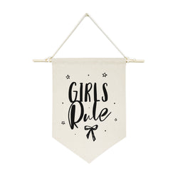 Girls Rule Hanging Wall Banner - The Cotton and Canvas Co.