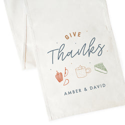Personalized Couple Names Give Thanks Canvas Table Runner - The Cotton and Canvas Co.